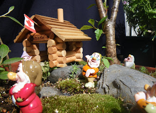 Dwarfs house with Canadian flag from miniature garden