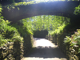 Minter Gardens man-made structure wood bridge and stone walls