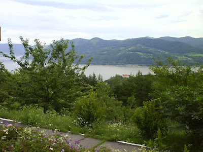 Danube River view from Saint Ana Monastery courtyard, Orsova,  Romania