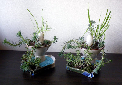 Miniature table centerpieces with accent plants