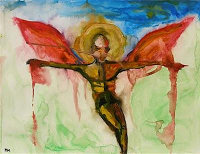 """tatuaje angel caido.  de Marilyn Manson representando el """"ángel caído"""" y """"portador de luz""""."""