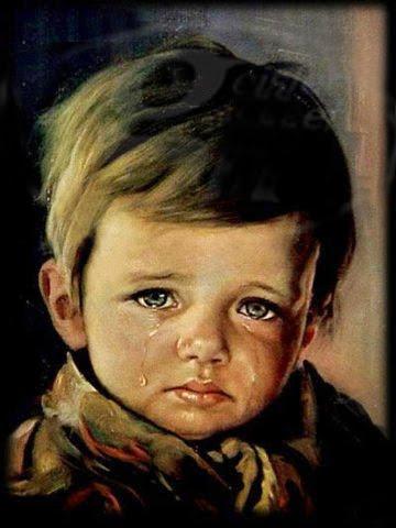Vanalleswat zigeunerkind met traan - Schilderen kind jongen ...