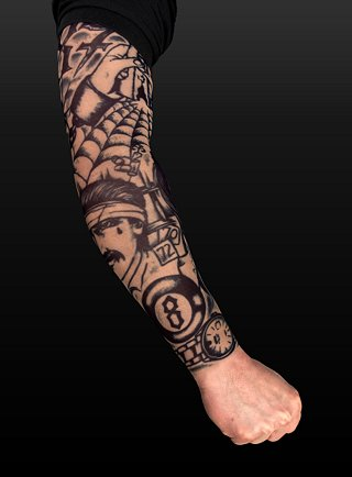 Description: Tattoo sleeve The sleeve can be easily worn ON & worn OFF in
