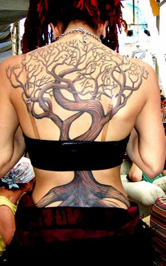 tree tattoos. tree tattoos on back.