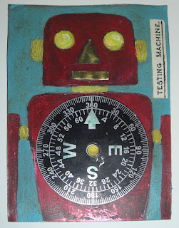 tin robot recycled art