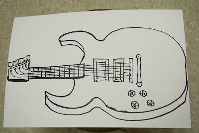 Contour Line Drawing Guitar : Solid guitar line drawing u stock vector bigalbaloo