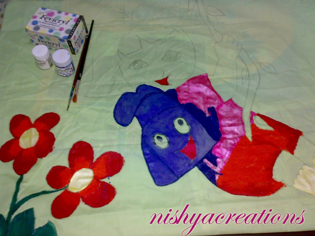 Pillow Cover Design Dora For Kids Using Fabric Paint Again