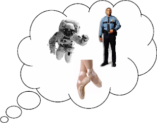 Thought bubble with ballet slippers, policeman, and astronaut