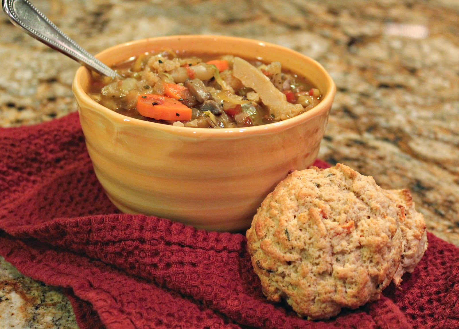 ... Kitchen: SKINNY VEGGIE SOUP AND SWEET POTATO ROSEMARY BISCUITS