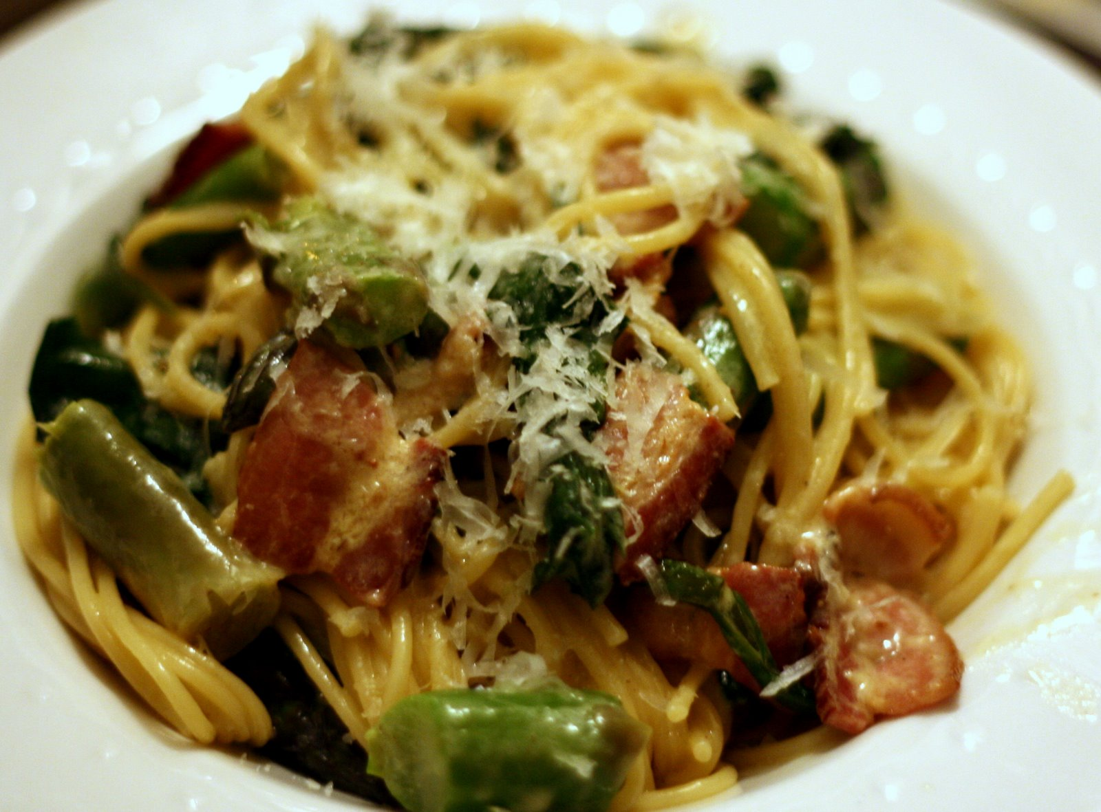 "Springtime ""Carbonara"" with Ramps and Asparagus 
