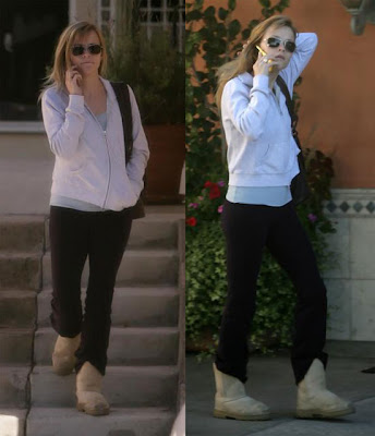 Reese Witherspoon wearing Uggs winter boots.