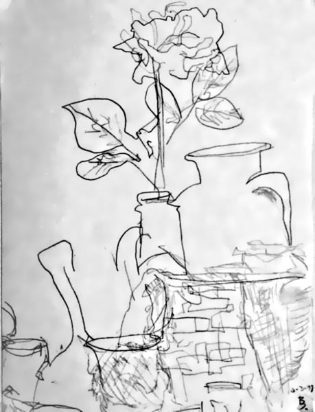 Contour Line Drawing Of Still Life : Art figurativ flowers