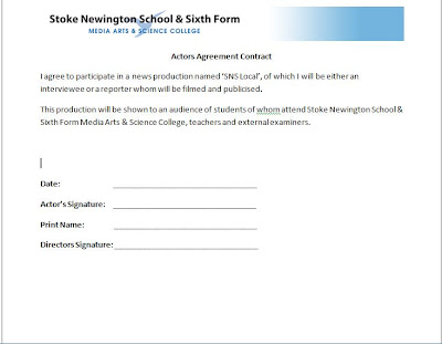 A2 Practical Coursework Blog Student Agreement Form