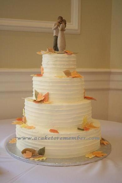 A Cake To Remember VA Autumn Leaf Wedding Cake