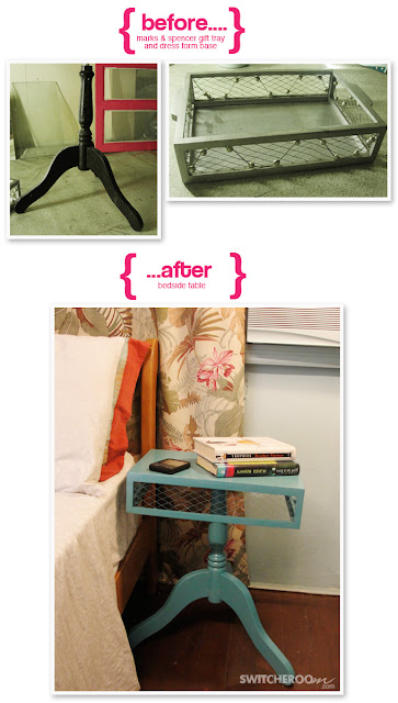 DIY, side table, before and after, teal furniture