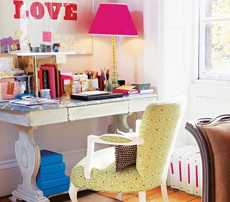 switcheroom, feminine home office, pink lamp, girly home office