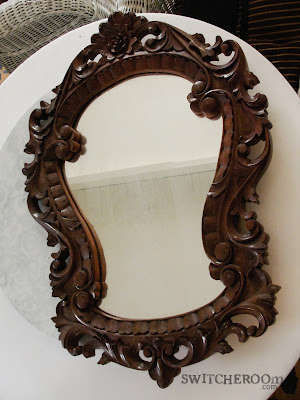 yellow mirror, yellow ornate mirror, baroque mirror, switcheroom, diy mirror