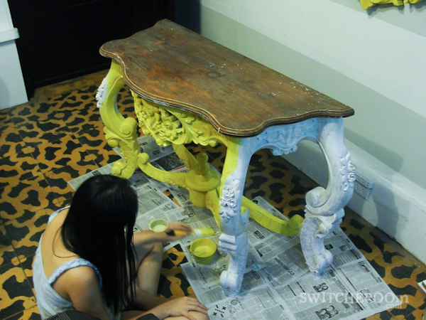 yellow entry table, foyer table, DIY table, before and after table, switcheroom