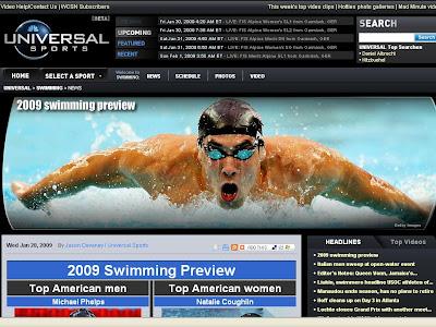 nbc universal sports swimming webpage