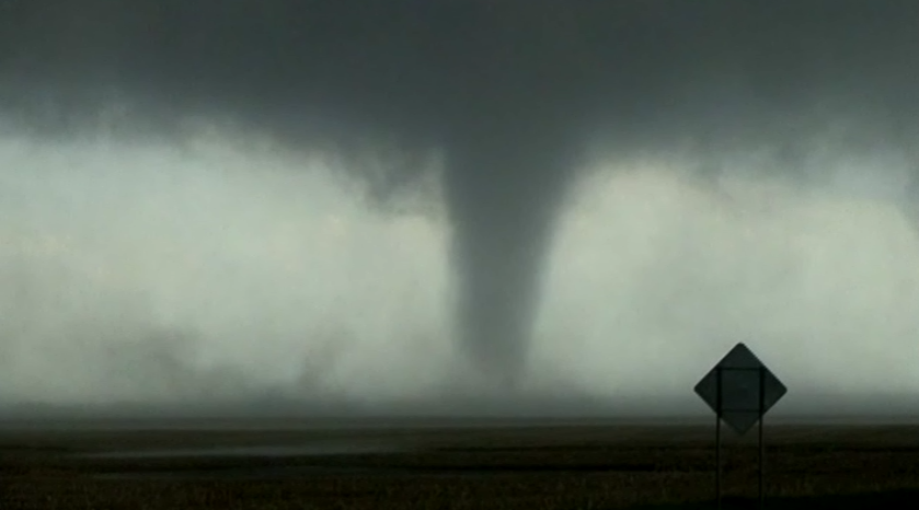 ... this footage of a powerful tornado near pierre south dakota as many
