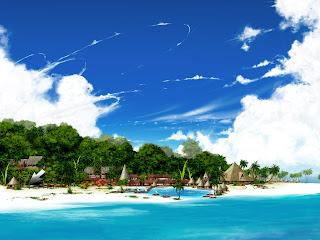 Strand, zee en bos