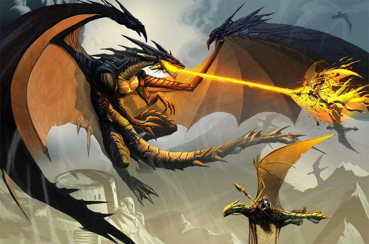 wallpaper with dragon blowing fire during a fight