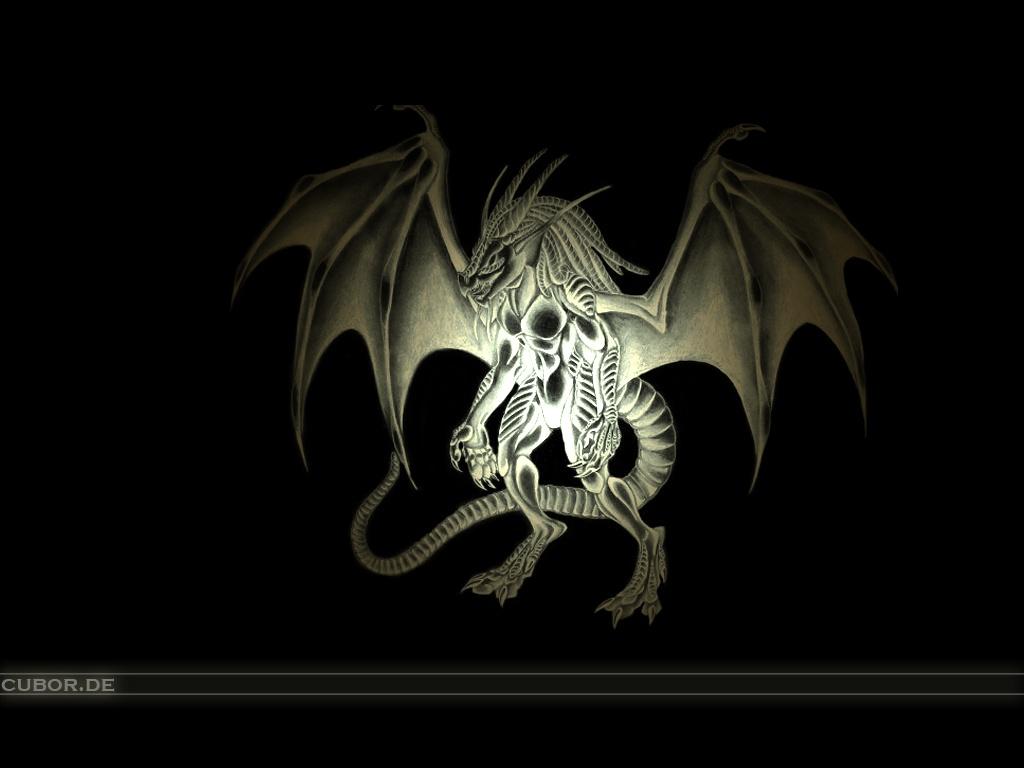 Dragon In The Dark Black Wallpaper
