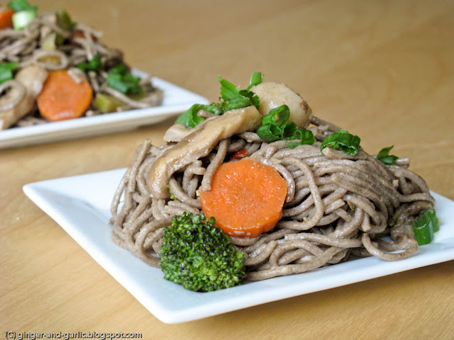 Ginger & Garlic: Soba noodles with mushrooms and lime ginger dressing