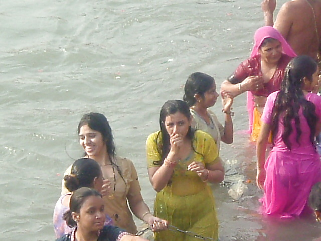 Indian Aunty Bathing River
