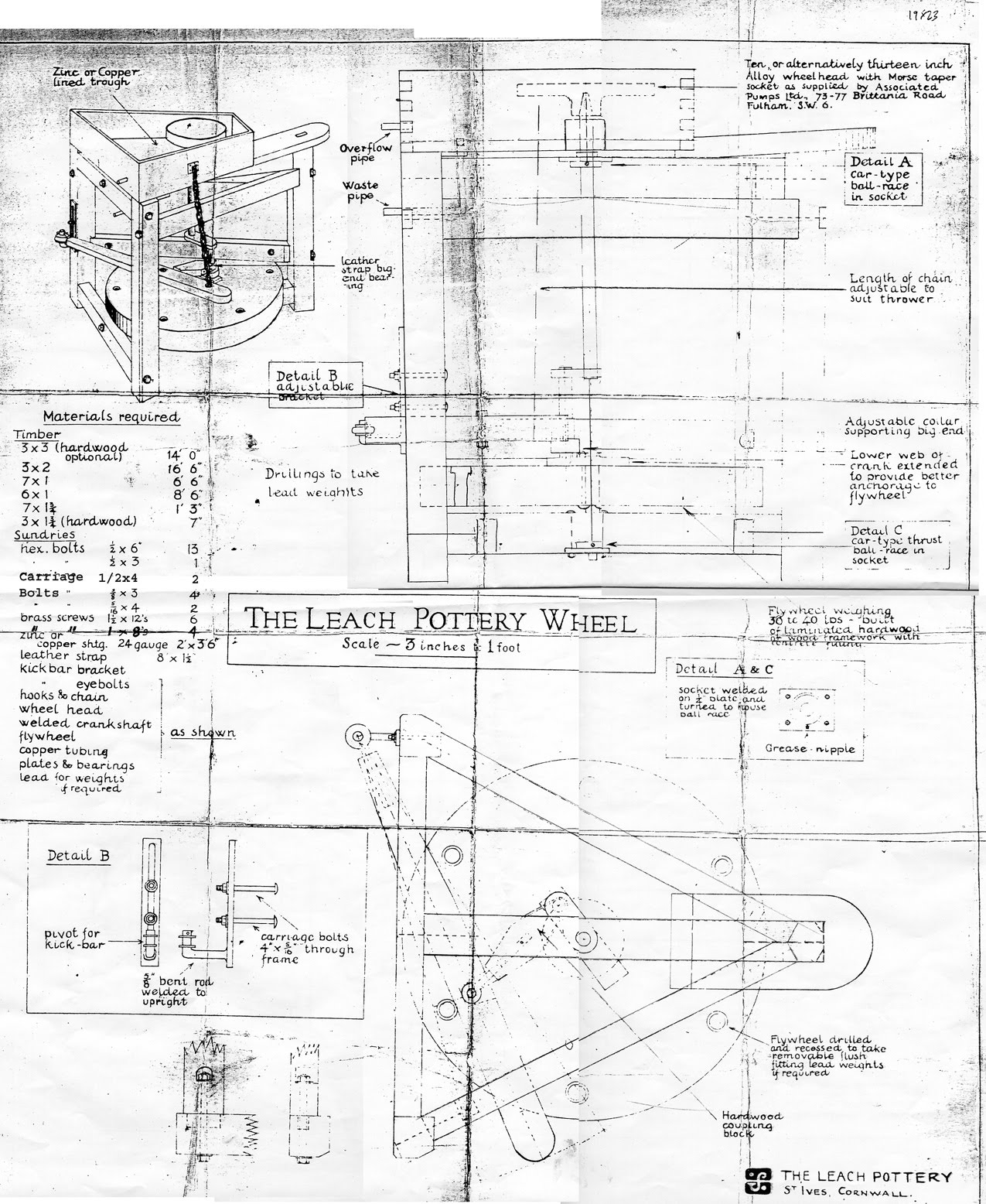 pottery kick wheel plans. st.ives pottery plan of leach wheel - looks authentic ! kick plans