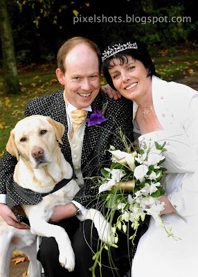 endal, allen, and sandra, family remarriage photo,family back to life with help of endal,gulf war victim miraculous recovery,wedding photography,wedding photo with pet dog