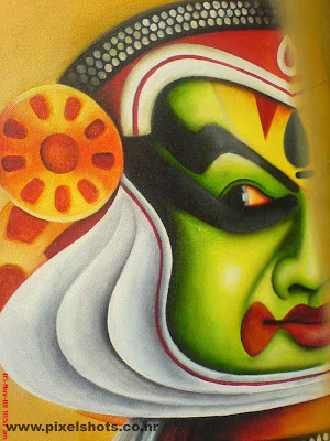 paintings photograph of kadhakali art form of kerala photographed from shops in cochin jew streeet india kerala,chutty kuthal,kadhakali,kerala art forms,paintings of kerala arts,green kadhakaly face painting