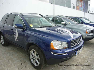 volvos latest suvs like xc60 and xc90 parked in the race village of cochin kerala india, volvos in kerala cochin, volvo cars in india, auto expo of volvo during ocean race, ocean race volvo suvs