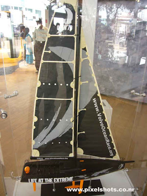 photograph of small yacht model used by volvo in ocean race,photo from volvo autoshow pavillion at cochin kerala, sailors race yachts demo in exhibition