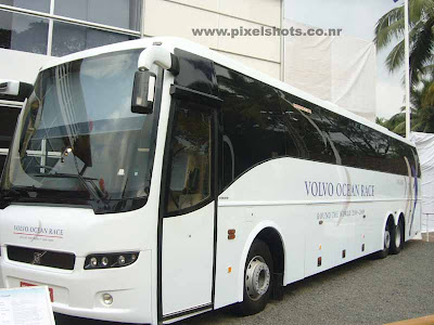 photograph of volvos bus in the volvos autoshow and latest technology show conducted in ocean race village india cochin kerala