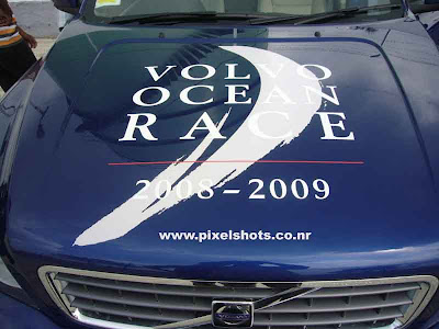 volvo ocen race emblem on the bonnet of volvos suv xc60,volvos photographed from race village cochin kerala, ocean race volvo, blue Volvo xc90 bonnet