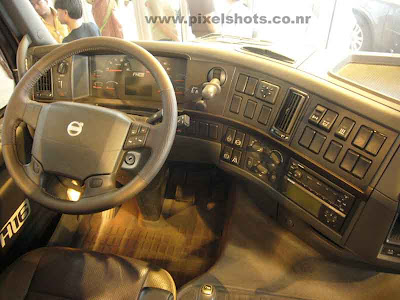 volvos latest trailer fh16 driver cabin and dashboard controls photograph from volvos automobile show in cochin kerala