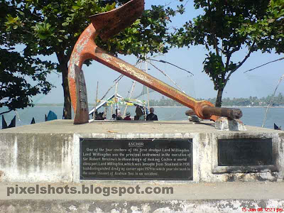 old anchor of the ship lord wellington used in the dredging of port of cochin kerala,photographed from fort cochin beach side