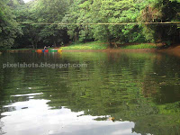 adventure zone lotus pond,river crossing cable going over pond in thenmala adventure zone,kerala adventure eco tourism spots
