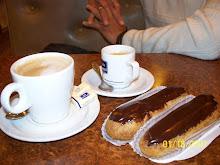 Chocolate eclairs and coffee
