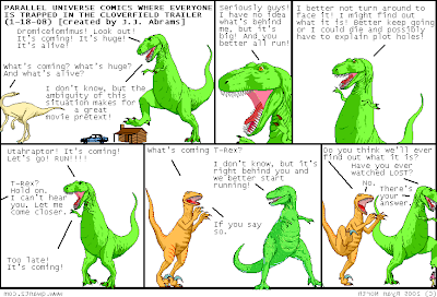 Plot twist! T-Rex really is the monster that everyone is running from but he doesn't know it!