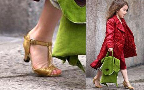 Katie Holmes High Heels on In Golden High Heels Suri Cruise In Silver High Heels Suri Cruise