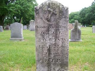 Oscar Robillard's headstone at St Joeseph's Cemetery