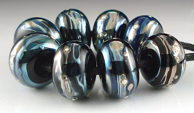 Black, Kronos, Silver Spacer Beads
