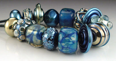 Mixed Metallic Lampworked Bead Set