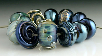 Blue Metallic Lampwork Beads