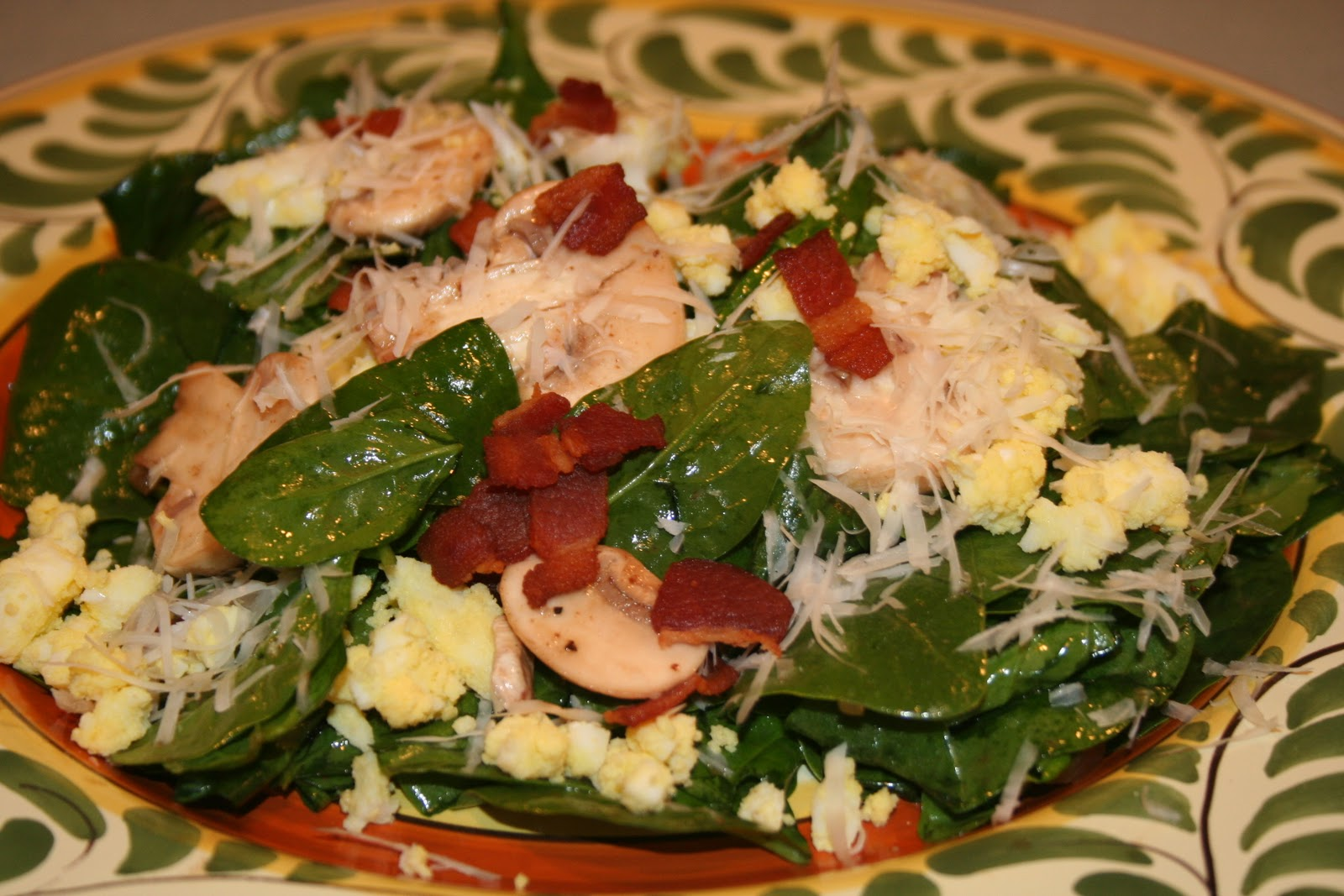 spinach salad with warm bacon dressing. The type of spinach salad ...