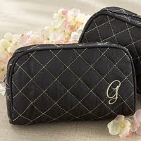 Quilted Monogrammed Cosmetic Make Up Bag
