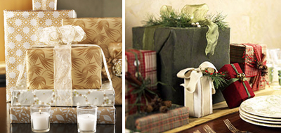 Holiday wrapped gift box centerpieces