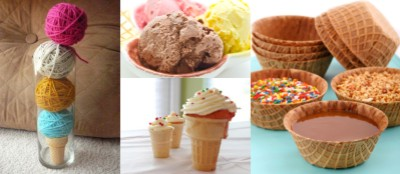 yarn cone centerpieces, ice cream flavors, cone cupcakes, waffle cone bowls